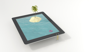 Tablet with floating tire and island with palm in the sea, 3のイラスト素材 [FYI04358278]