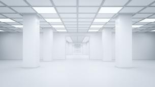 Futuristic empty storehouse, 3D Renderingのイラスト素材 [FYI04358290]