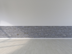 Plank floor, natural stone and panel wall, 3D Renderingのイラスト素材 [FYI04358429]
