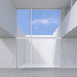 Empty room with glass wall to atrium, 3D Renderingのイラスト素材 [FYI04358476]