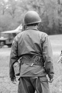 Rear View Of Army Soldier On Fieldの写真素材 [FYI04370019]