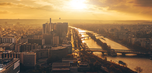 High Angle View Of Cityscape During Sunsetの写真素材 [FYI04405999]
