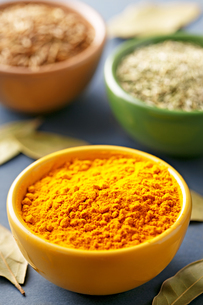 High Angle Close-up Of Curry Powder With Cumin And Oregano In Bowls On Tableの写真素材 [FYI04415000]