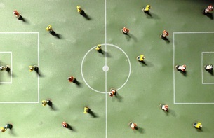 Directly Above Shot Of Figurines On Artificial Soccer Fieldの写真素材 [FYI04422320]