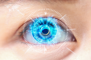 Digital Composite Image Of Interface With Human Eyeの写真素材 [FYI04422649]