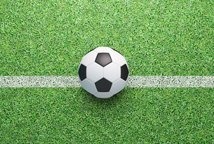 High Angle View Of Soccer Ball On Fieldの写真素材 [FYI04431385]