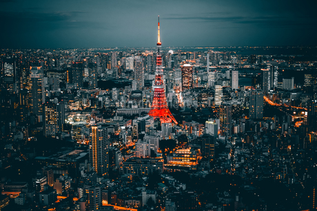 Illuminated Tokyo Tower Amidst Buildings In City Against Skyの写真素材 [FYI04434223]