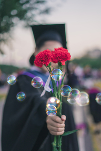 Woman In Graduation Gown Holding Red Flowers By Bubblesの写真素材 [FYI04435073]