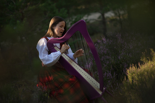 Beautiful Woman Playing Celtic Harp While Sitting On Grassy Fieldの写真素材 [FYI04437157]