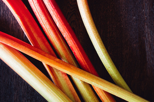 Directly Above Shot Of Rhubarbs On Tableの写真素材 [FYI04438528]