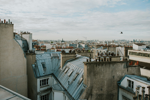 High Angle View Of Cityscape Against Cloudy Skyの写真素材 [FYI04442571]