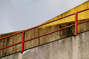 Metallic Railing At Steps Against Clear Skyの写真素材 [FYI04446205]