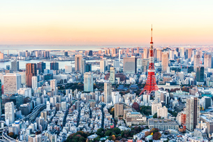 Aerial View Of Cityscape During Sunsetの写真素材 [FYI04465999]