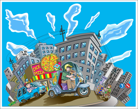 青い空と流れる雲、マンションが立ち並ぶ住宅街の宅配ピザショップ、宅配ピザをスクーターで運ぶバイトの青年と道路と交通標識のイラスト素材 [FYI04474562]