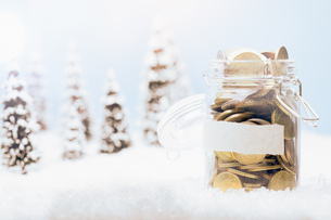 Close-up Of Coins In Jar Against Christmas Tree On Snowの写真素材 [FYI04476240]