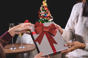 Cropped Image Of Woman Giving Present To Friend During Christmasの写真素材 [FYI04477006]