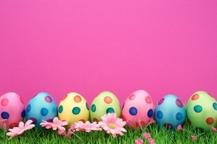 Close-up Of Colorful Easter Eggs With Flowers And Grass Against Pink Backgroundの写真素材 [FYI04477409]