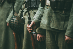 Midsection Of Soldiers Standing In Rowの写真素材 [FYI04478198]