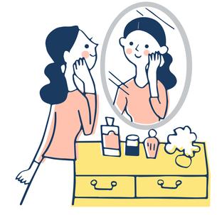 鏡で自分の顔を見る女性のイラスト素材 [FYI04479696]
