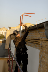 Germany, chimney sweep at workの写真素材 [FYI04481628]