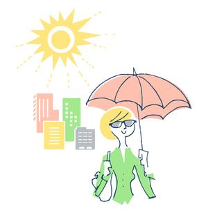 紫外線対策をする女性のイラスト素材 [FYI04482297]