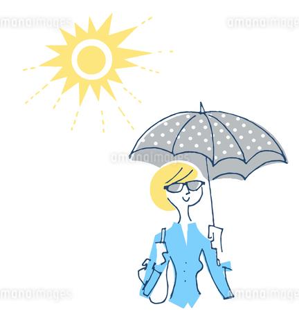 紫外線対策をする女性のイラスト素材 [FYI04482307]