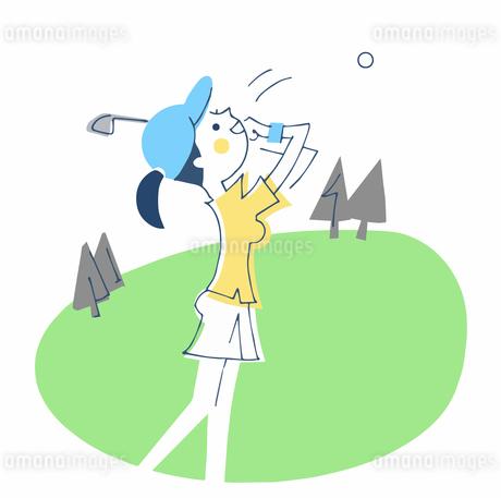 ゴルフをする女性のイラスト素材 [FYI04482313]
