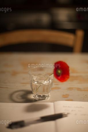 一輪の赤いポピーの花を飾ったテーブルの上で書き物の写真素材 [FYI04482511]