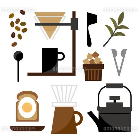モーニングコーヒーとパンのイラスト素材 [FYI04482552]