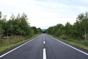 北海道のアスファルトの真っ直ぐな道   A straight asphalt road in  Hokkaidoの写真素材 [FYI04482729]