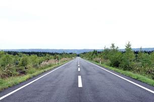 北海道の真直なアスファルトの道  A straight asphalt road in  Hokkaidoの写真素材 [FYI04482730]