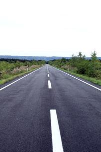 北海道のアスファルトの真っ直ぐな道   A straight asphalt road in  Hokkaidoの写真素材 [FYI04482731]