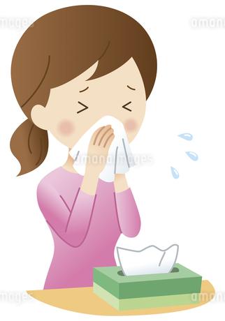 鼻をかむ女性のイラスト素材 [FYI04483206]