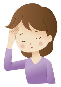 頭痛に悩む女性のイラスト素材 [FYI04483208]