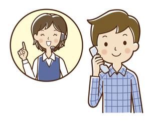 オペレーターと電話で話す男性のイラスト素材 [FYI04483237]