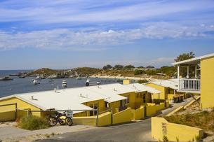 オーストラリア・西オーストラリア州のフリーマントルの沖合約18kmのインド洋に浮かぶロットネスト島に並ぶ黄色い建物と白い雲の景観の写真素材 [FYI04483440]