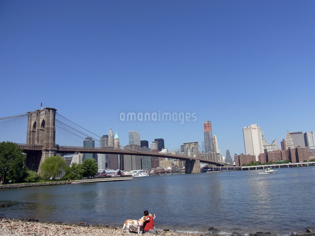 ニューヨークのブルックリン橋とイースト川 Brooklyn bridgeとEast river and N.Y.C  U.S.A   の写真素材 [FYI04483827]