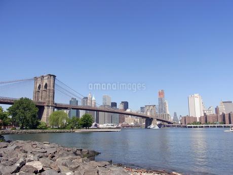 ニューヨークのBrooklyn bridgeとEast river and N.Y.C  U.S.A   ブルックリン橋の写真素材 [FYI04483828]