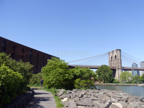 ニューヨークのブルックリン橋とイースト川  Brooklyn bridge and east river in N.Y の写真素材 [FYI04483927]