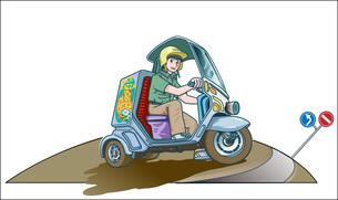 宅配ピザをスクーターで運ぶバイトの青年と道路と交通標識の写真素材 [FYI04484024]