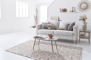 白いソファーが置かれた白い空間の中のナチュラルなリビングルームの写真素材 [FYI04484258]