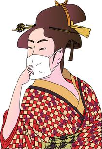 マスクする浮世絵美人のイラスト素材 [FYI04484980]