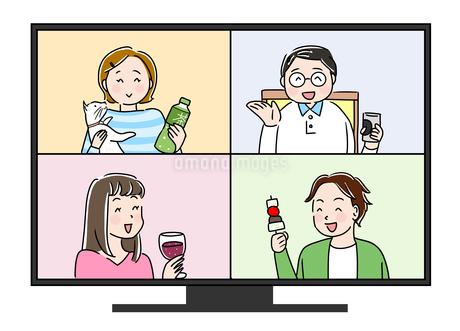 オンライン飲み会3のイラスト素材 [FYI04485598]