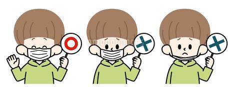 マスクの付け方のイラスト素材 [FYI04486309]