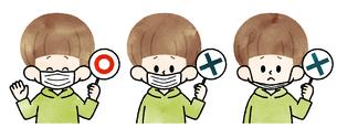 マスクの付け方-水彩のイラスト素材 [FYI04486310]