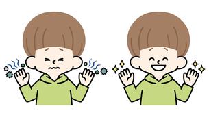 男の子-不潔な手-清潔な手のイラスト素材 [FYI04486986]