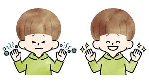 男の子-不潔な手-清潔な手-水彩のイラスト素材 [FYI04486987]