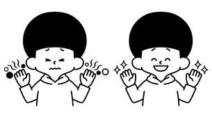 男の子-不潔な手-清潔な手-白黒のイラスト素材 [FYI04486988]
