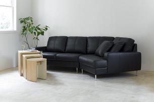 窓のある白い壁の部屋にある黒のソファーの写真素材 [FYI04487370]