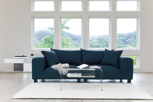 窓のある部屋のソファーの写真素材 [FYI04487376]
